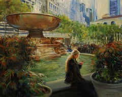 October Light In Bryant Park Onelio Marrero Oil painting on stretched canvas
