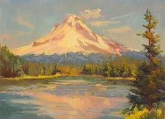 Trillium Lake and Snowy Mountain Karen E Lewis Oil painting on wood