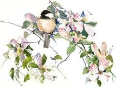 Enjoyment, Chickadee and Dogwood Flowers Suren Nersisyan Watercolor painting on