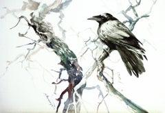Raven in the Woods Suren Nersisyan Watercolor painting