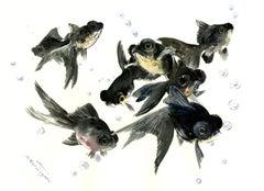 Black Moor Fish in Aquarium Suren Nersisyan Watercolor painting