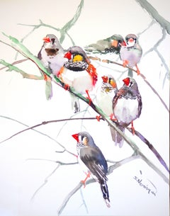 Zebra Finches (Vertical) Suren Nersisyan Watercolor painting on paper