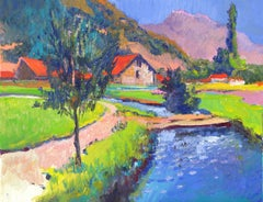 To the Farms in Mountains, Greece Suren Nersisyan Oil painting on stretched canv