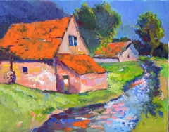Farm Houses with Orange Roofs Suren Nersisyan Oil painting on stretched canvas