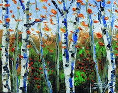 Silver Birch Lisa Elley Oil painting on stretched canvas