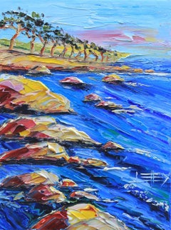 Monterey Dusk Lisa Elley Oil painting on stretched canvas