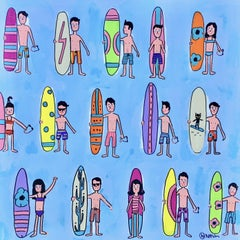 Surfers, Painting, Acrylic on Canvas