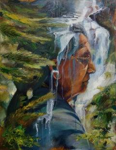 Waterfall Abigail Drapkin Oil painting on wood