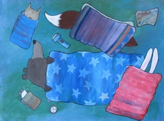 Sleeping Bag Party Andrea Doss Acrylic painting on stretched canvas