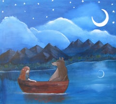 The Moonlit Lake Andrea Doss Acrylic painting on stretched canvas