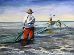 Sun and Nets Andres Lopez Oil painting on stretched canvas