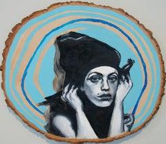 Blue Amber Flora Dixon Acrylic painting on wood