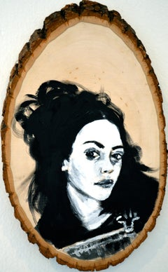 Self-Portrait Amber Flora Dixon Acrylic painting on wood
