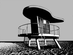 Miami Beach Lifeguard Stand #9. - In Black & White, Hand Printed Work, Screen