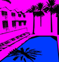Miami Beach Pool - In Pink, Hand Printed Work, Screen