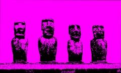 4 Kings Easter Island - In Pink, Hand Printed Work, Screen