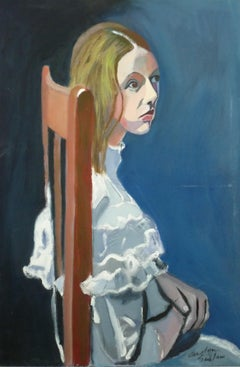 Girl in the Wooden Chair Carolyn Schlam, Oil painting on stretched canvas