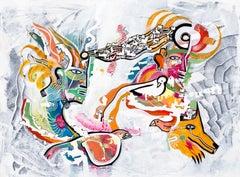 Telepathic Communication Cameron Limbrick, Acrylic painting on stretched canvas