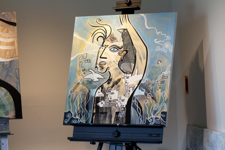 Greetings Cameron Limbrick, Acrylic painting on stretched canvas - Gray Figurative Painting by Cameron Limbrick