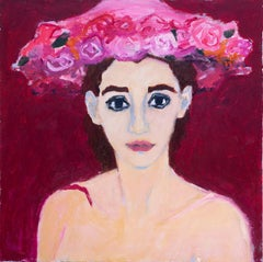 Woman in Flowered Hat Betsy Podlach, Oil painting on stretched linen
