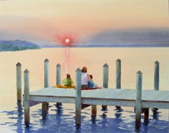 Sittin' On The Dock of The Bay Bill Kreitlow, Watercolor painting on paper