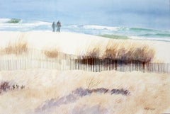 Cold Walk by the Sea Bill Kreitlow, Watercolor painting on paper