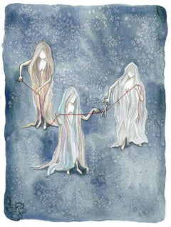 The Moirai: Clotho, Lachesis and Atropos Chamisa Kellogg, Watercolor painting