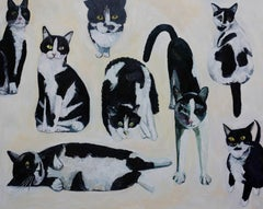 Cow Cats, Painting, Oil on Canvas