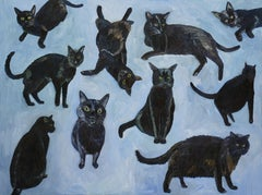 Black Cats, Painting, Oil on Canvas