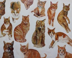 Orange Cats, Painting, Oil on Canvas