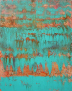 Aqua Turquoise Green Abstract One, Painting, Acrylic on Canvas