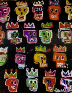 Colored skulls, Painting, Acrylic on Canvas