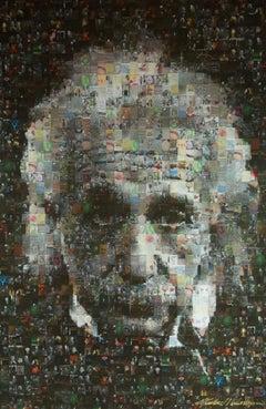 Albert Einstein Mosaic Photo Collage on Canvas, Photograph, Canvas (stretched)