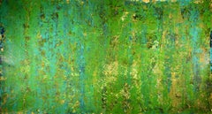 Green dreamscape with gold, Painting, Acrylic on Canvas