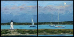 Diptych: Harbor Light in Moonlight, Painting, Oil on Canvas
