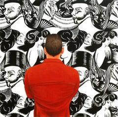 Eight Heads, Painting, Acrylic on Wood Panel