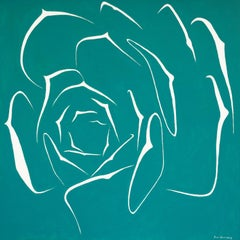 Succulent in Turquoise, Painting, Acrylic on Canvas