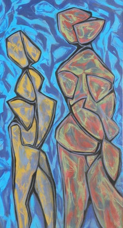 Two Dancers, Painting, Acrylic on Canvas