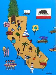 California Map, Painting, Acrylic on Canvas