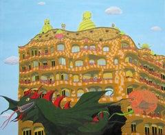 Barcelona, Gaudí, Sant Jordi., Painting, Oil on Canvas
