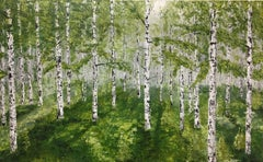 Birches in Spring Fog, Mixed Media on Canvas