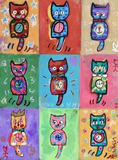 Cat clocks, Painting, Acrylic on Canvas