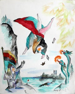Fighting the dragons - Modern Figurative Drawing and Watercolour Painting