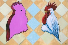 Fowl Clutter, Painting, Oil on Wood Panel