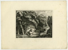 Landscape with spring and waterfall by Salomon Gessner - Etching - 18th Century