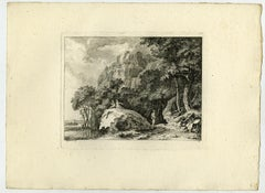 Mountainous landscape with people by Salomon Gessner - Etching - 18th Century