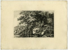 Landscape - playing a lyre and flute by Salomon Gessner - Etching - 18th Century