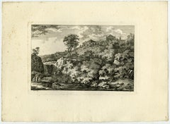 Landscape with a temple on a hill by Salomon Gessner - Etching - 18th Century