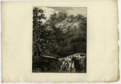 Landscape - Man pulled in the water by Salomon Gessner - Etching - 18th Century