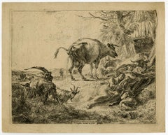 Sleeping shepherdess - pissing cow by Nicolaes Berchem - Etching - 17th Century